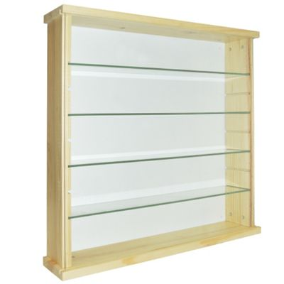 Solid Wood 4 Shelf Glass Wall Display Cabinet - Natural Pine