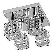 MiniSun Genata Square 4 Way LED Ceiling Light, Chrome - 6500K - Silver