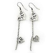 Silver Tone Double Heart Chain Drop Earrings - 70mm Length