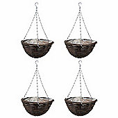 4 x 16-inch Natural Rattan Hanging Basket