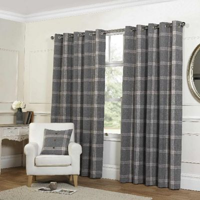 Rapport Grey Check Eyelet Curtains - 90x72 Inches (229x183cm)