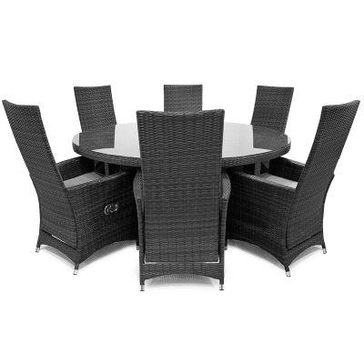 Maze Rattan - Ruxley 6 Seat Dining Set - 1.35m Round - Grey