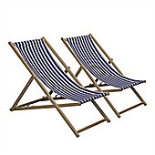 Traditional Adjustable Garden / Beach-style Deck Chair - Blue / White Stripe - Pack of 2