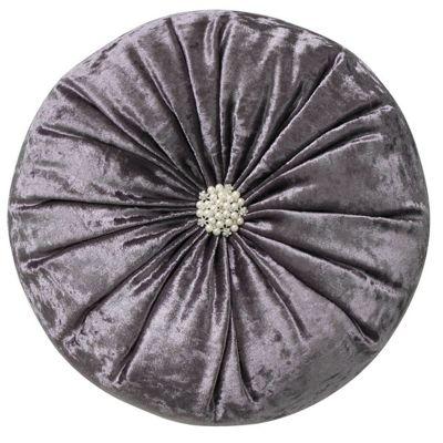 Stylish Lavender Crushed Velvet Round Diamante Cushion Chic Home Decor