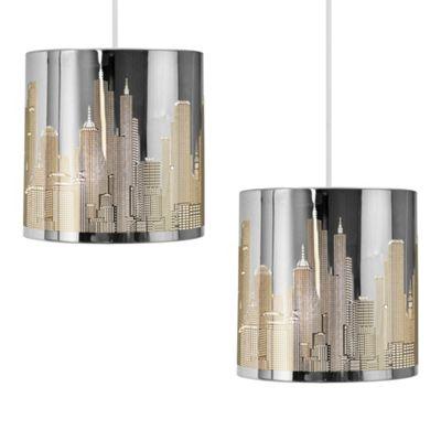Pair of New York Skyline Ceiling Pendant Light Shades, Chrome