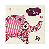 Baby Girl Pink Floral Elephant Fabric Print Card