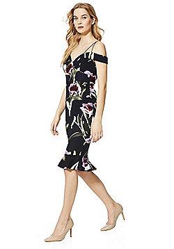 AX Paris Floral Print Strappy Bardot Midi Dress - Black Multi
