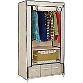 Vonhaus Double Canvas Wardrobe Clothes Hanging Rail Shelves & Storage Drawers Beige