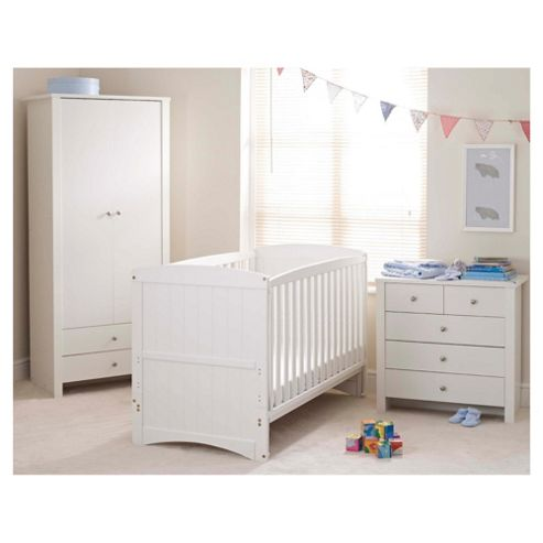 Saplings Amber 3 Piece Nursery Room Set, White