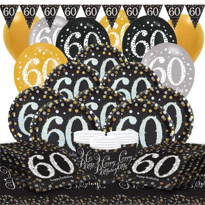 Sparkling Celebration 60th Birthday Party Pack - Deluxe Party for 16
