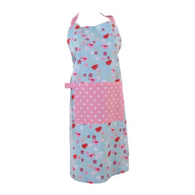 Homescapes Birds and Flowers Pink Blue Unisex Apron With Pocket