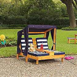 Kidkraft Double Chaise Lounge with Cup Holders - Honey & Navy
