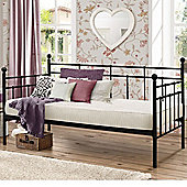 Happy Beds Lyon Metal Day Bed with Pocket Spring Mattress - Black - 3ft Single