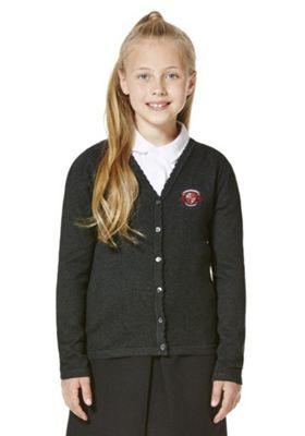 Girls Embroidered Scallop Edge School Cotton Cardigan with As New Technology 7-8 years Dark grey
