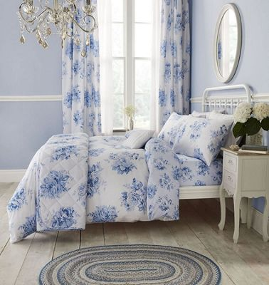 Catherine Lansfield Canterbury Floral Easy Care Single Duvet Set Blue