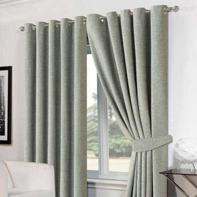 Dreamscene Pair Eyelet Chenille Curtains and Tiebacks, Duck Egg Blue - 46