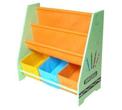 Kiddi Style Childrens Crayon Themed Wooden Sling Bookshelf & Storage - Green