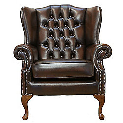 Chesterfield Mallory Queen Anne High Back Wing Chair - Antique Brown