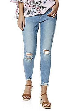 F&F Chewed Hem Distressed Mid Rise Skinny Jeans - Light wash