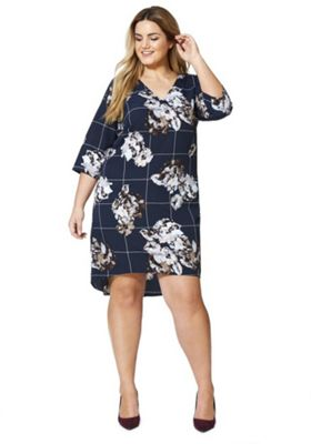 Junarose Windowpane Check and Floral Print Plus Size Dress 18 Navy & Multi