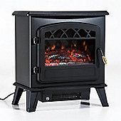 Homcom 900/1800W Electric Fireplace Log Burn Effect Portable Metal Heater - Black
