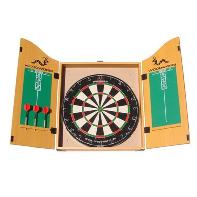 Woodworm Bristle Dart Board Set With Cabinet Darts