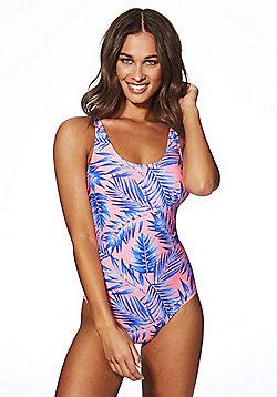 F&F Leaf Print Swimsuit - Blue/Pink