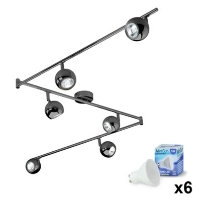 Retro Eyeball Six Way LED Ceiling Spotlight, Black Chrome & Warm White GU10 Bulbs