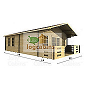 16ft x 23ft (5.0m x 7.0m) Home Office Log Cabin - Double Glazing (70mm Wall Thickness)