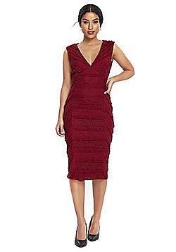 Wallis Lace Shutter Dress - Berry