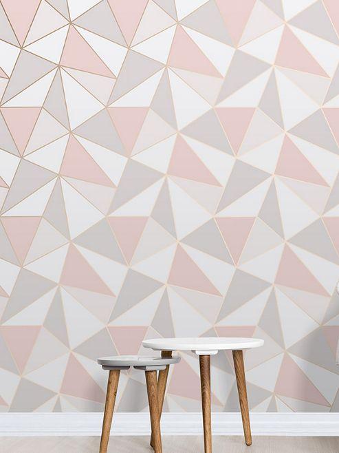 Apex Geometric Wallpaper Rose Gold Fine Decor FD41993