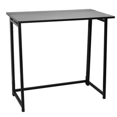 Folding Computer, Laptop Space Saving Wooden Desk. Black Frame / Black Top