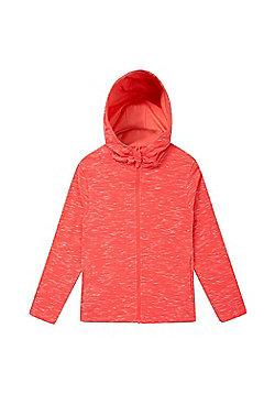 Zakti Girls Cotton Blend Kids Revive Full-Zip Isocool Hoodie in Slim Fit - Coral