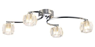Modern Bedroom or Living Room Ceiling Light with Chunky Clear Glass Shades