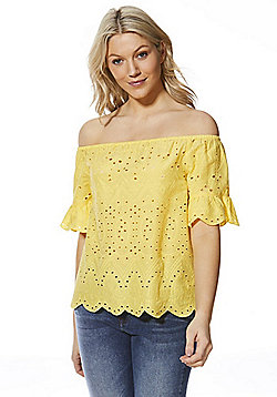 F&F Schiffli Lace Bardot Top - Yellow