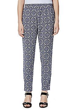 Jacqueline De Yong Tile Print Trousers - Blue