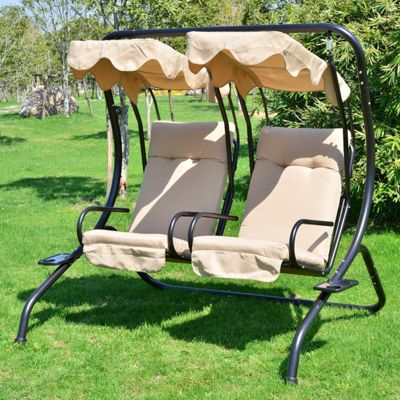 Outsunny Garden 2 Seater Swinging Hammock Seat With Tray