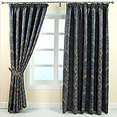 """Homescapes Blue Jacquard Curtain Traditional Damask Design Fully Lined - 90"""" X 54"""" Drop"""