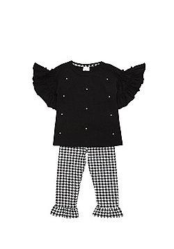 F&F Flower Applique T-Shirt and Leggings Set - Black