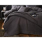 Catherine Lansfield Brushed Blanket Stitch Grey Bedspread - 200x200cm