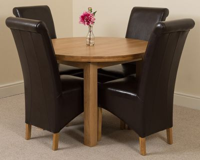 Edmonton Solid Oak Oval Extending 110 - 140 cm Dining Table with 4 Black Montana Leather Dining Chairs
