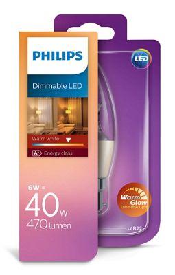 Philips 6 - 40W Warmglow Clear Candle LED B22 Dimmable Bulb 470lm - Warm White