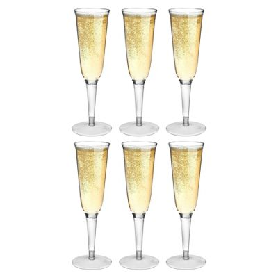 Rink Drink Plastic Champagne Outdoor Flutes - Pack Of 6