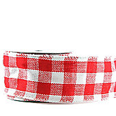 "Ribbon Check Wired Edge - 2.5"" x 10y- Red & White"