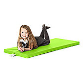Children's Lime Green Faux Leather Foam Nap Mat with Name Tag
