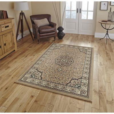 Traditional Print Beige Rug - 70x140cm