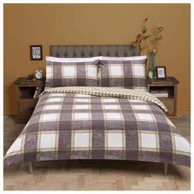 Tesco Checked Brushed Cotton Duvet Cover And Pillowcase Set Brown Single