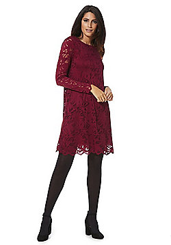 Vila Lace Long Sleeve A-Line Dress - Burgundy