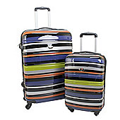 Swiss Case 4 Wheel Hard 2Pc Suitcase Set Technicolor
