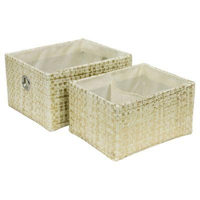 Tesco Woven Storage Baskets Metallic Set of Two  Buy Tesco Woven Storage  Baskets Metallic Set. Tesco Storage Baskets